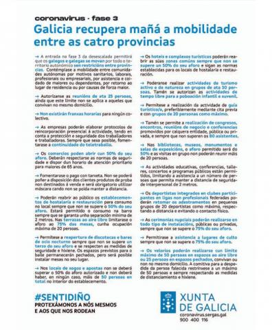 Fase 3 da desescalada pola COVID-19  en Galicia